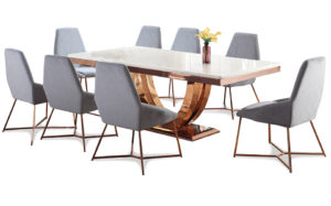 JUNO Rose Gold art Marb dining 8 chairs 17287 (1)